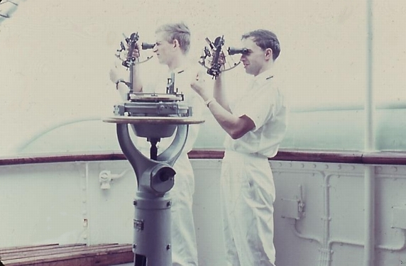 Two_ship's_officers_'shoot'_in_one_morning_with_the_sextant,_the_sun_altitude